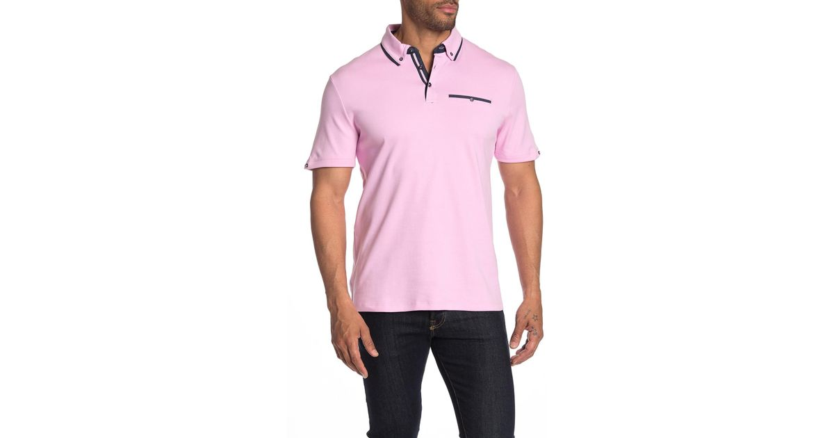 56546fb80 English Laundry Interlock Short Sleeve Polo Shirt in Pink for Men - Lyst