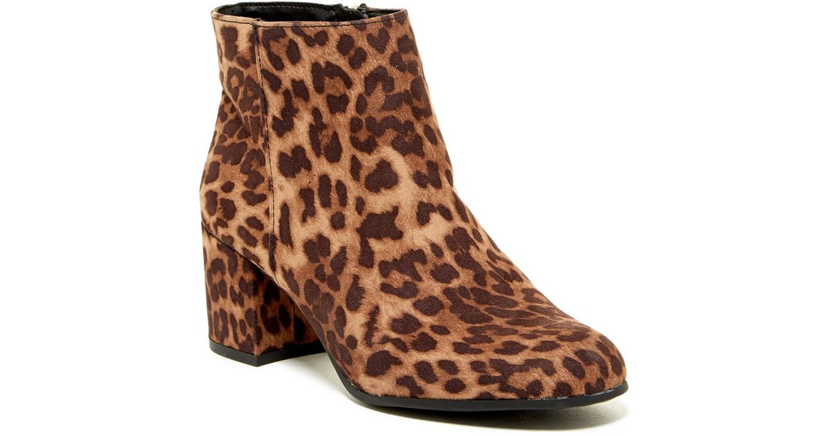 5ba777fbb0ec14 Lyst - Circus by Sam Edelman Vikki Leopard Block Heel Boot in Brown