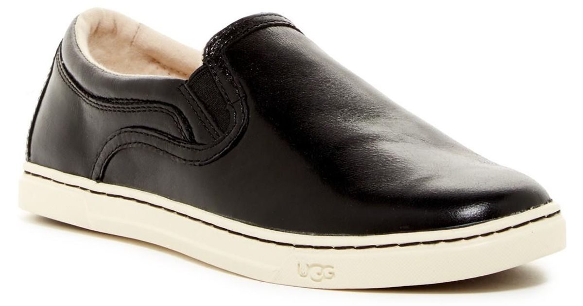 54e85132e17 UGG - Black Fierce Leather Uggpure(tm) Lined Slip-on Sneaker - Lyst