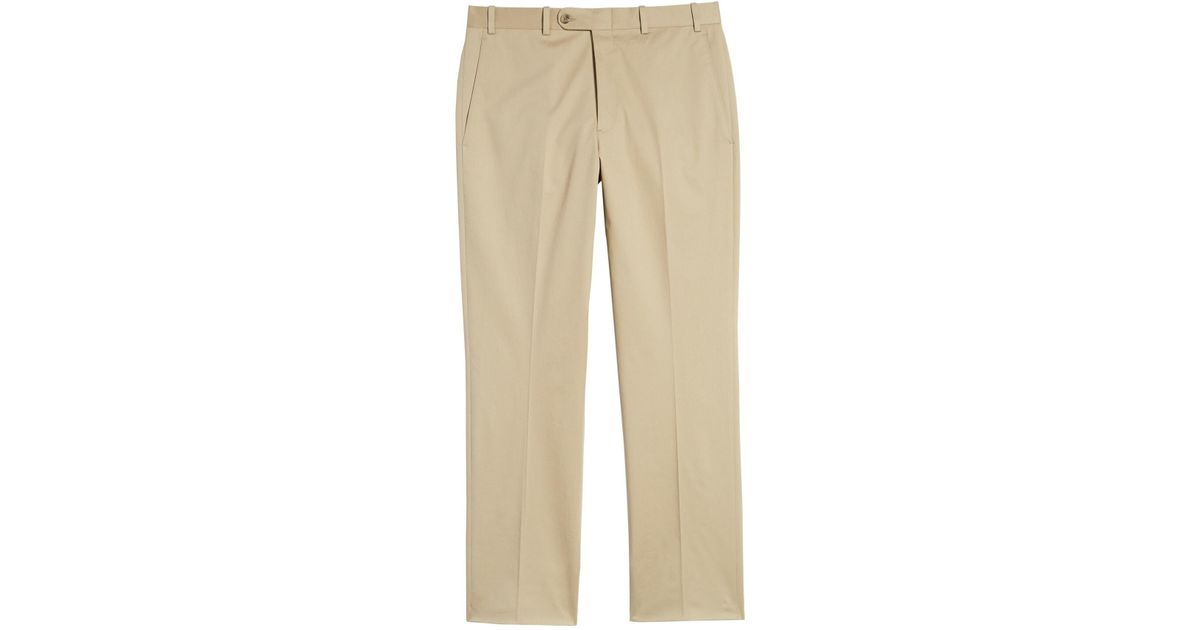 5a4cad0f1203c Lyst - John W. Nordstrom (r) Torino Traditional Fit Flat Front Solid  Stretch Cotton Trousers in Natural for Men