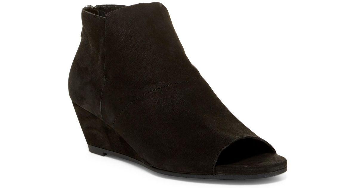 ee0453273c7e Lyst - Eileen Fisher Duffy Open Toe Wedge Bootie in Black