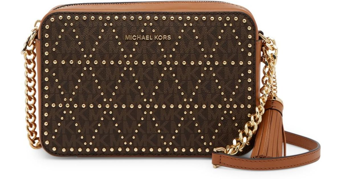 Lyst Michael Kors Signature Coated Twill Camera Crossbody Bag In Brown