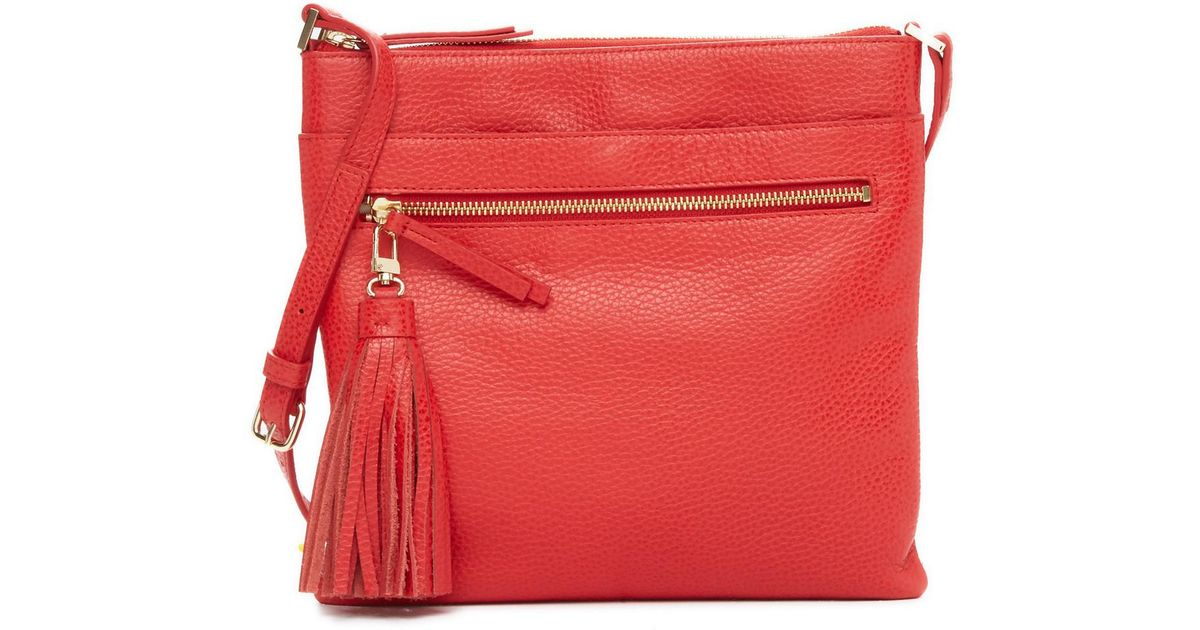 23051613d1 Lyst - Halogen (r) Tasseled Leather Crossbody Bag in Red