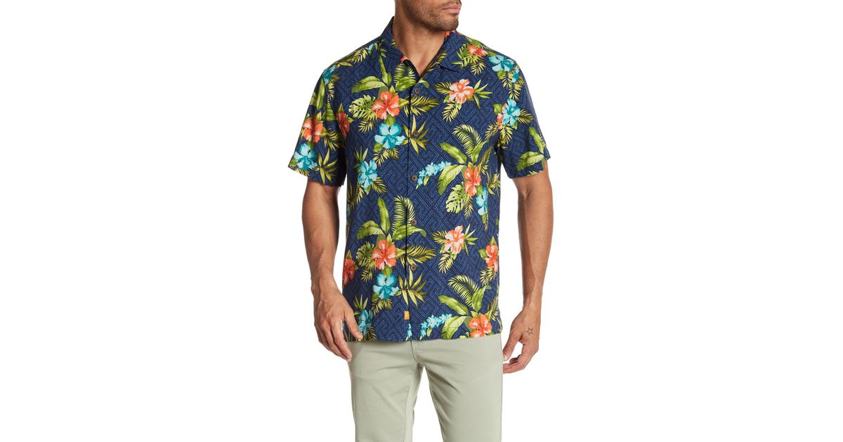 Lyst tommy bahama graphic printed short sleeve shirt in for Custom tommy bahama shirts