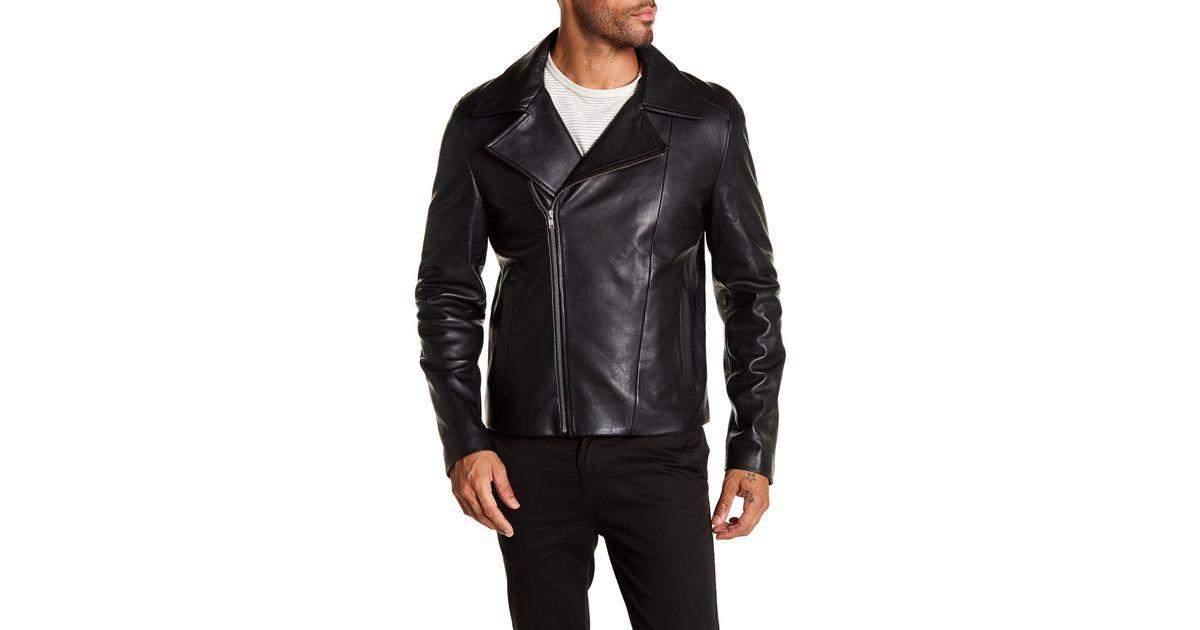 5f0d387a6 Lamarque - Black Clean Leather Moto Jacket for Men - Lyst