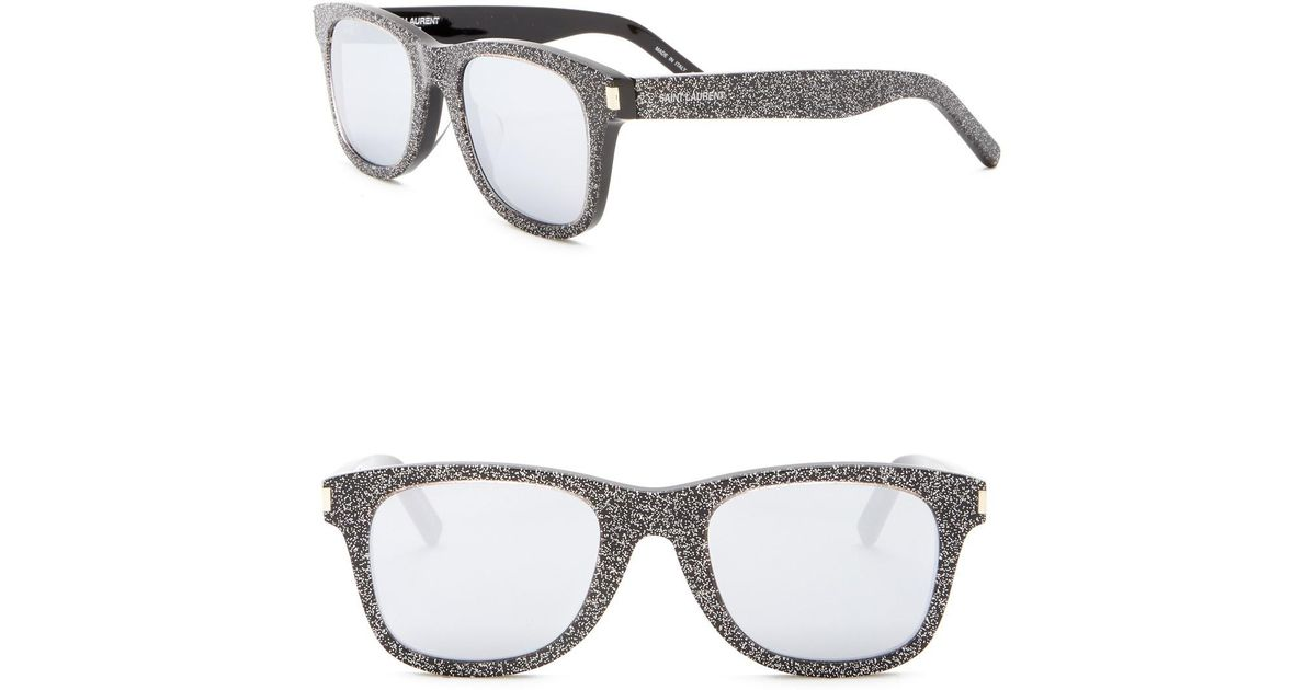 998410bd52b Lyst - Saint Laurent 50mm Glitter Square Sunglasses in Metallic