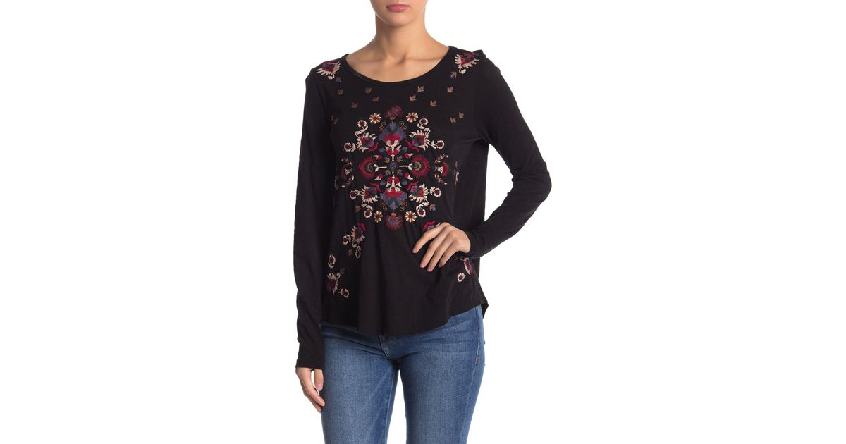 83f176153e5 Lyst - Lucky Brand Embroidered Long Sleeve Tee in Black