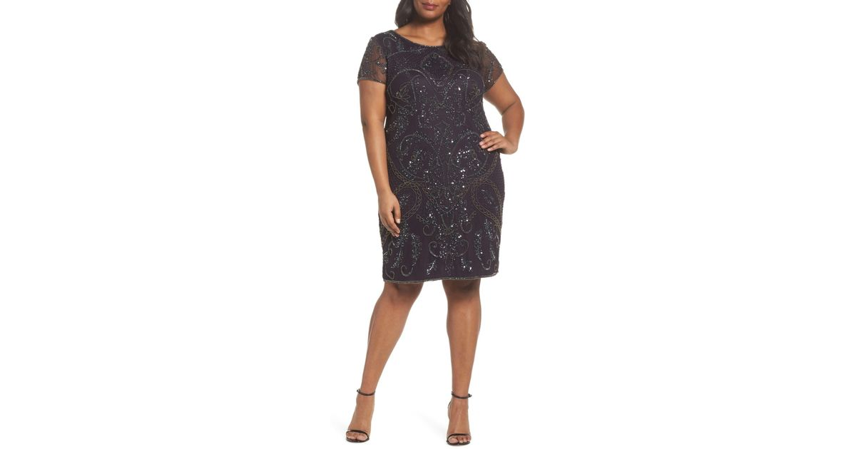 Lyst Pisarro Nights Embellished Mesh Sheath Dress Plus Size