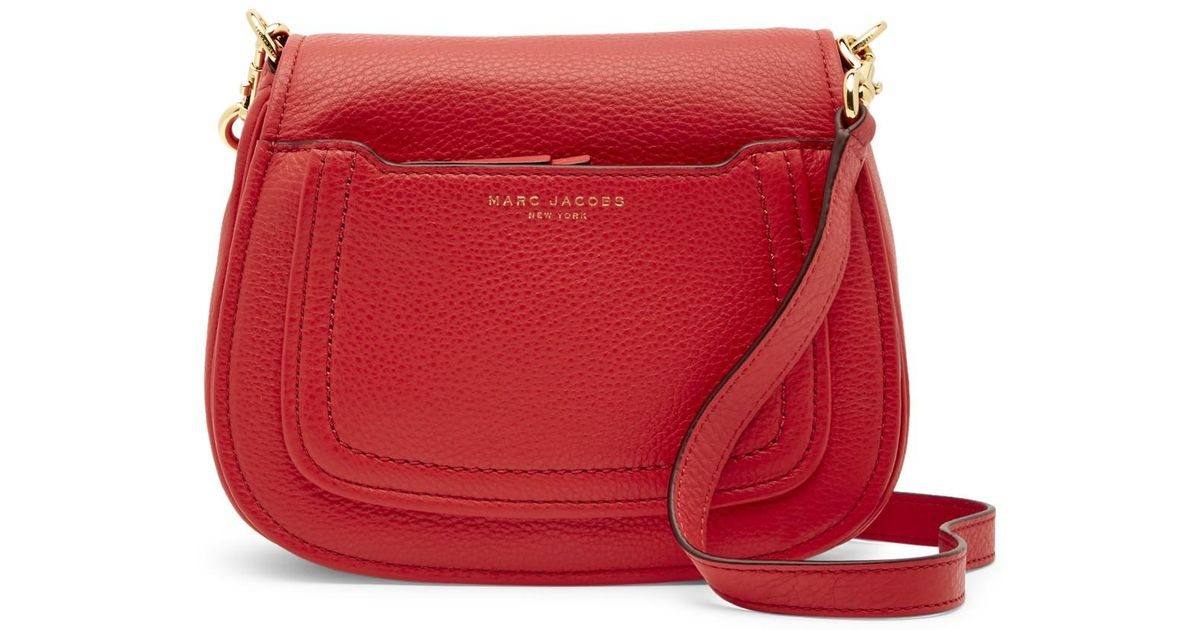 a5bde70c819e Lyst - Marc Jacobs Empire City Mini Messenger Leather Crossbody Bag in Red