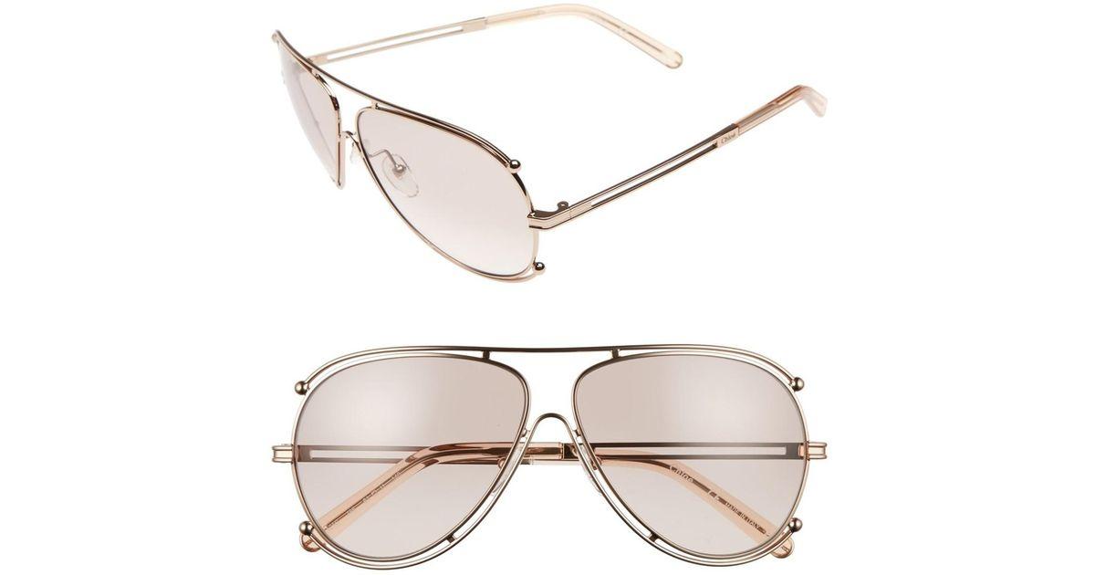 0361da8a1da Lyst - Chloé  isidora  61mm Aviator Sunglasses in Metallic