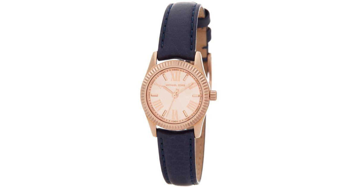 ebc58ecf7b95 Lyst - MICHAEL Michael Kors Women s Petite Lexington Leather Strap Watch