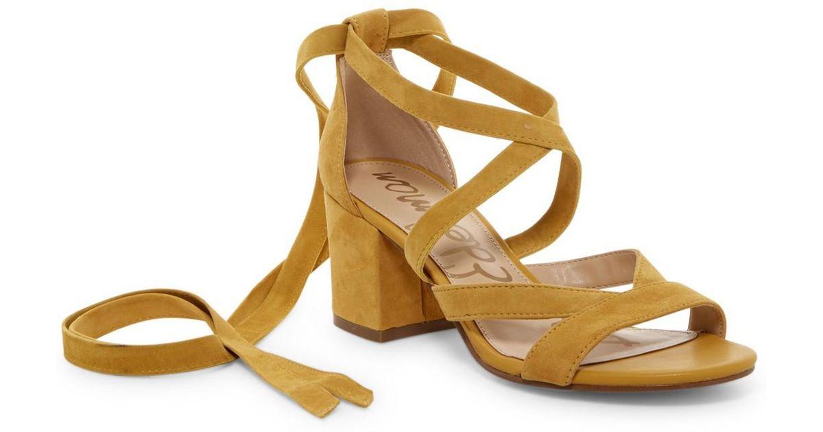 956aa868b4f9 Lyst - Sam Edelman Sheri Wrap-ankle Block Heel Sandal in Yellow