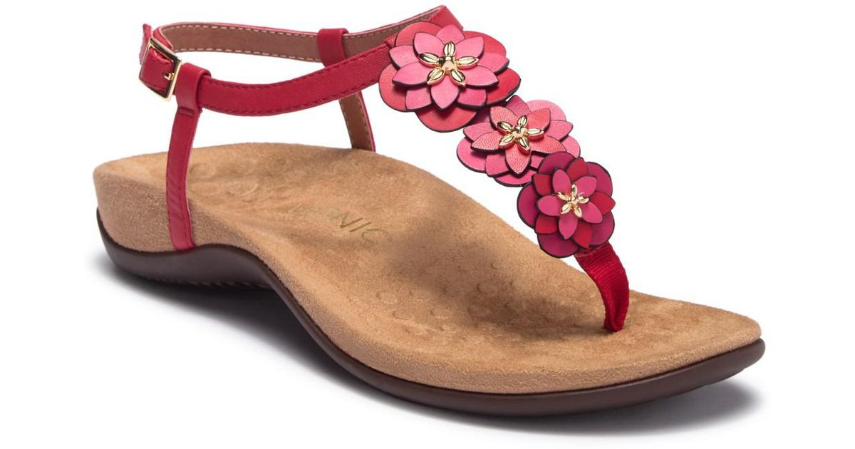 Vionic Paulie Patent Leather Floral Applique Thong Sandals lmvvmCd