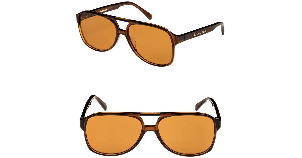 1fef3010fc9 Lyst - Céline C line 62mm Oversize Aviator Sunglasses in Brown