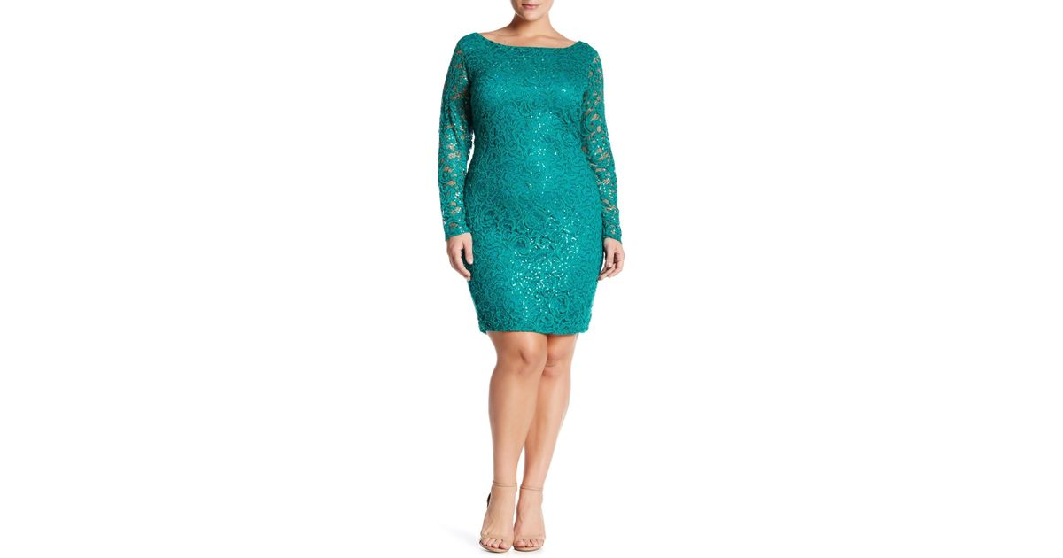 77d088d365b Marina Sequin Lace Dress (plus Size) in Green - Lyst