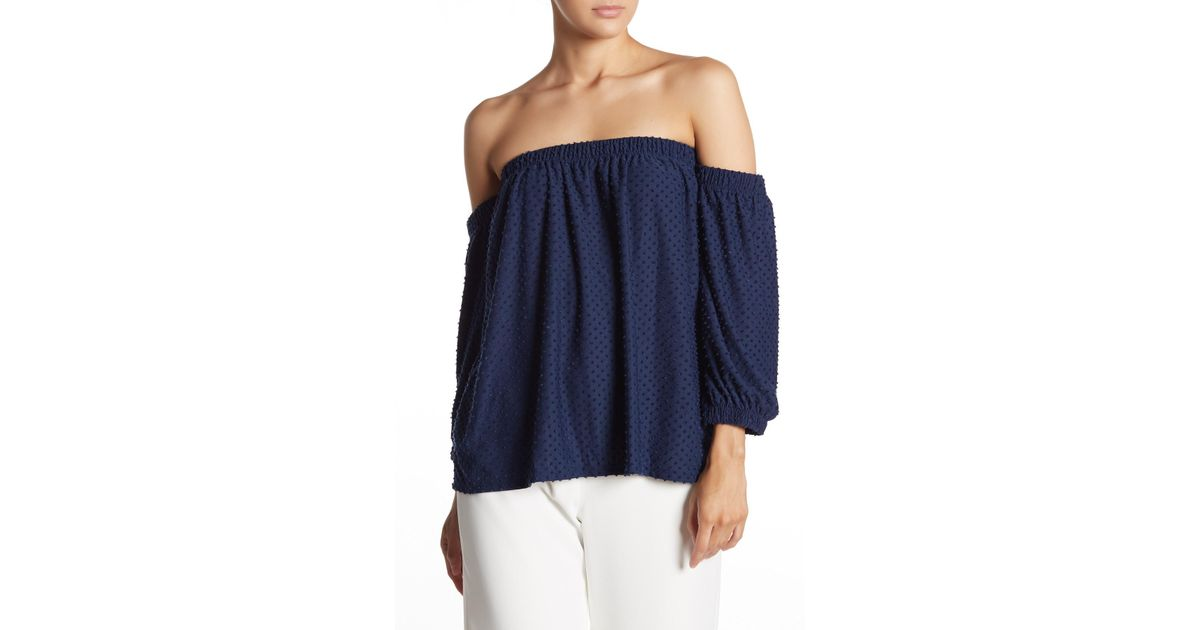 3b5a4fc2593e9e Cece by Cynthia Steffe Off-the-shoulder Clipped Knit Top in Blue - Lyst