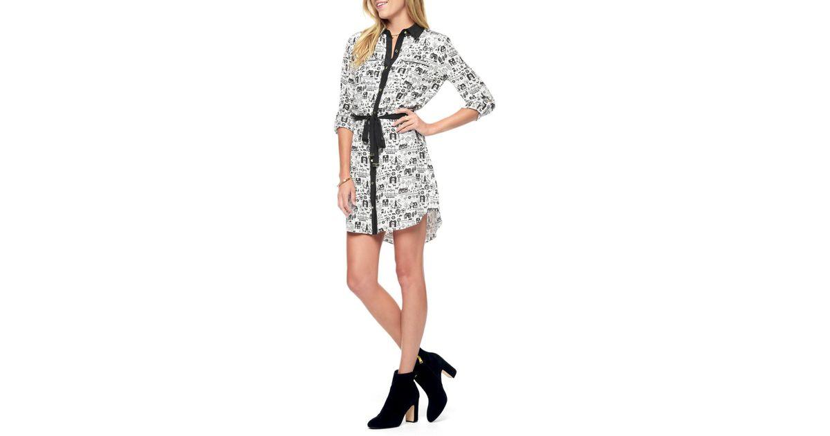 00277a292c Lyst - Juicy Couture Silk Landscape Print Shirt Dress
