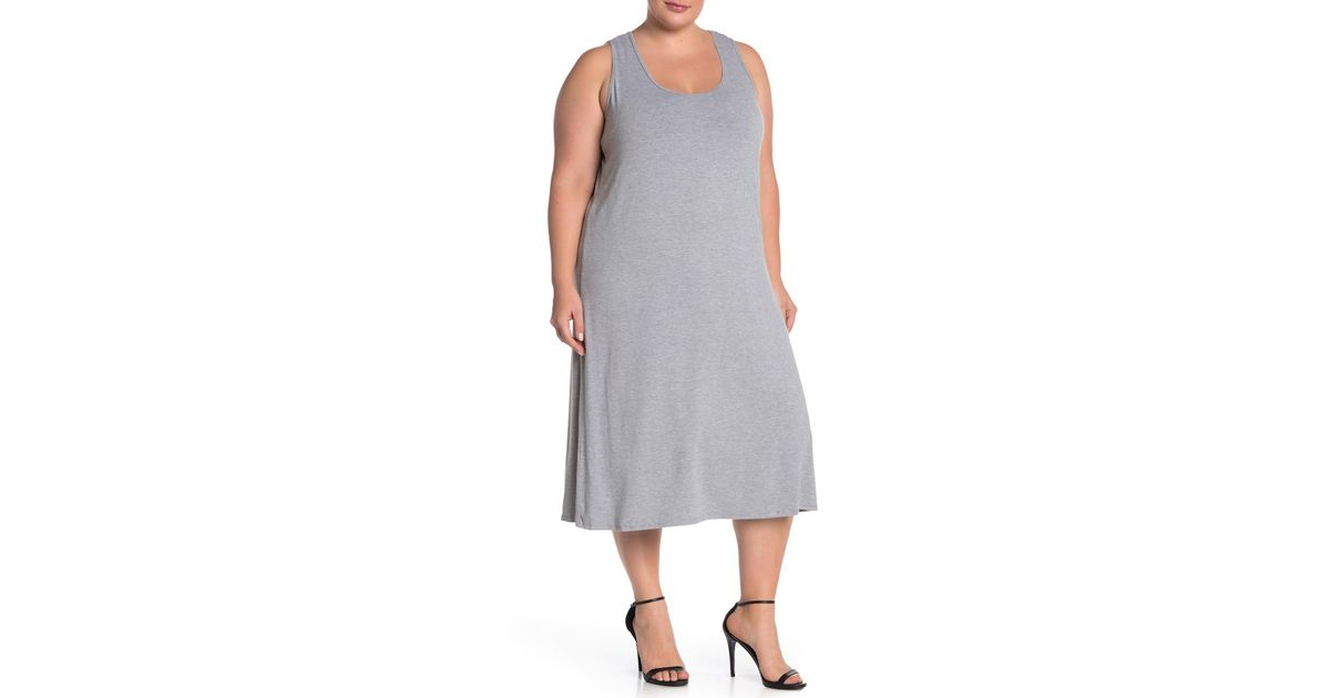 Philosophy Apparel - Gray Scoop Neck Midi Knit Tank Dress (plus Size) - Lyst