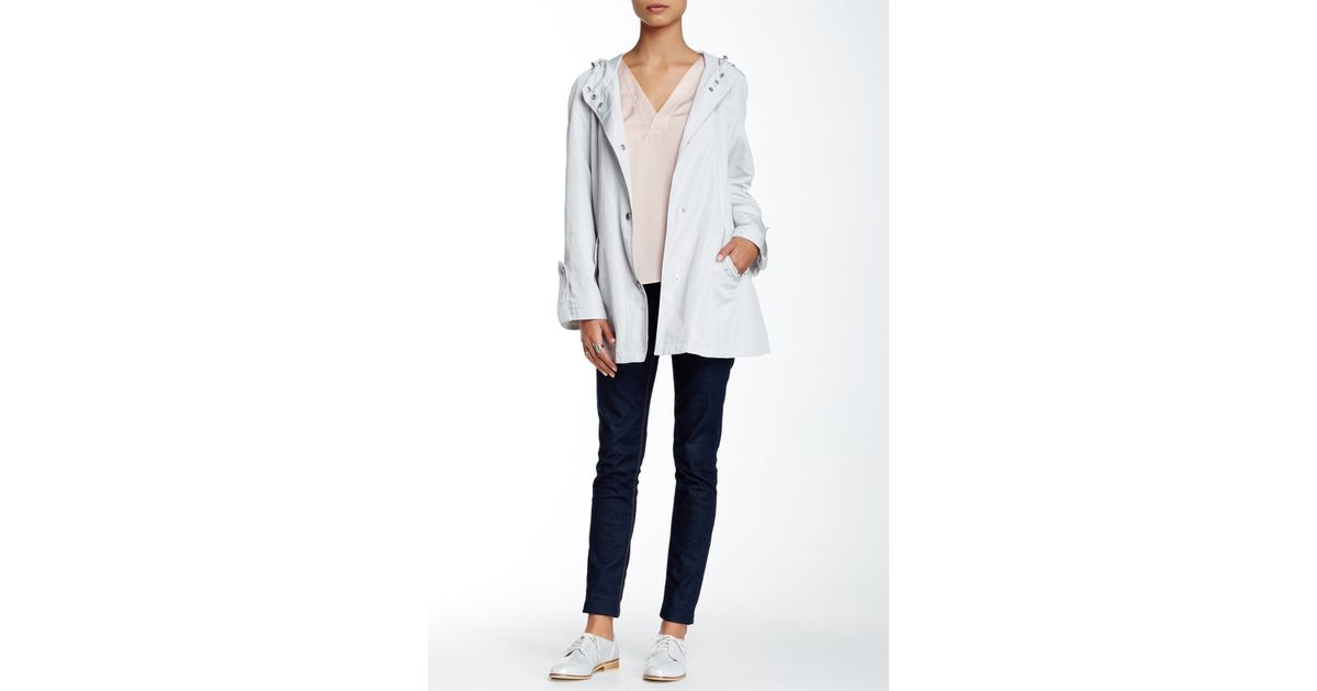 Anne klein hooded snap button jacket in white lyst for Mens shirts with snaps instead of buttons