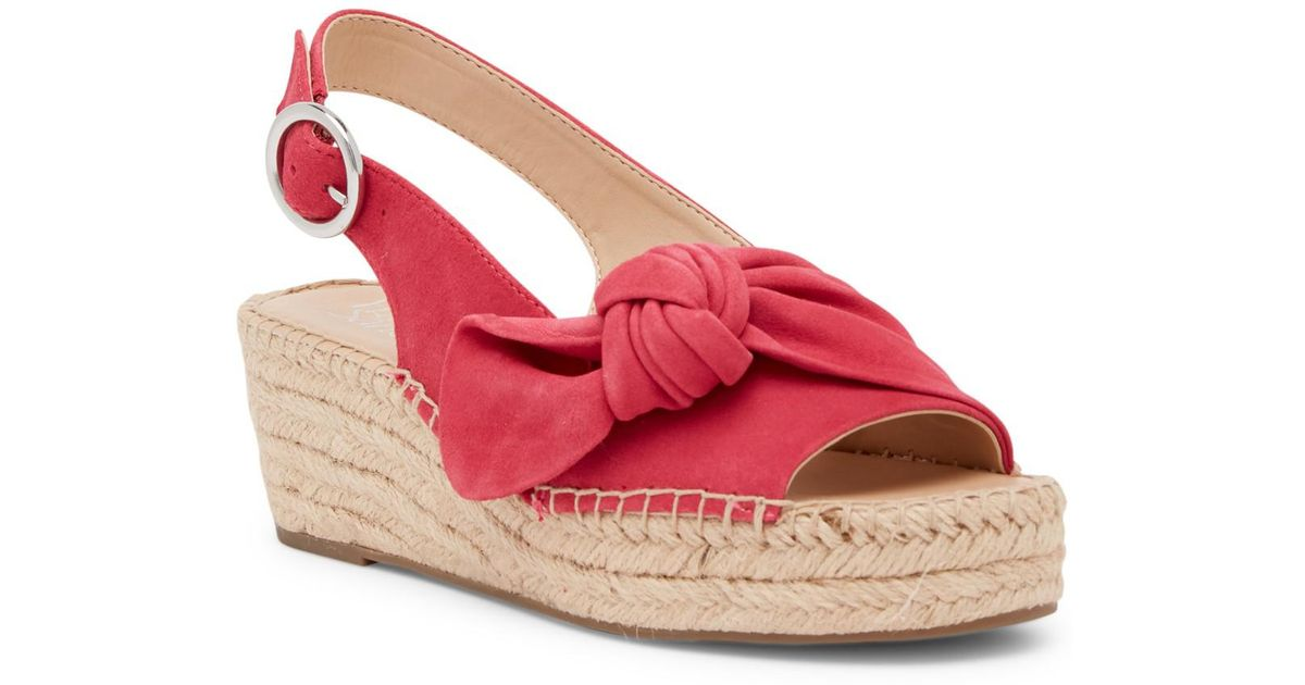 8ebd3c5efbf0 Lyst - Franco Sarto Pixie Suede Slingback Wedge Sandal - Wide Width  Available in Pink