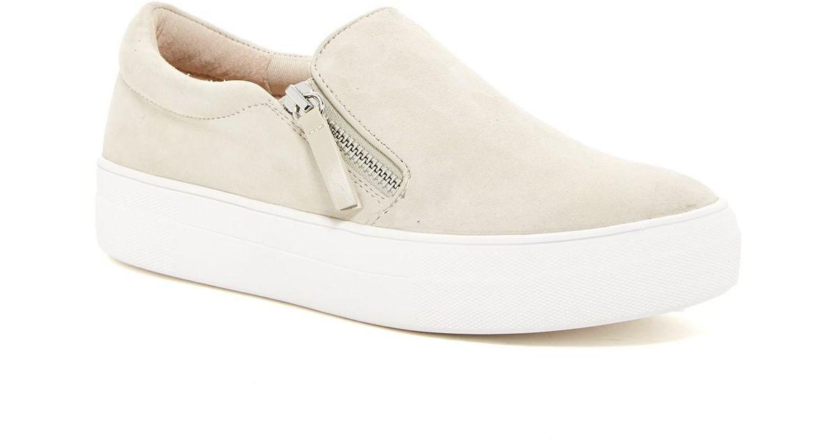 f87f6caa45e Lyst - Steve Madden Glaammar Zip Embossed Sneaker in Natural