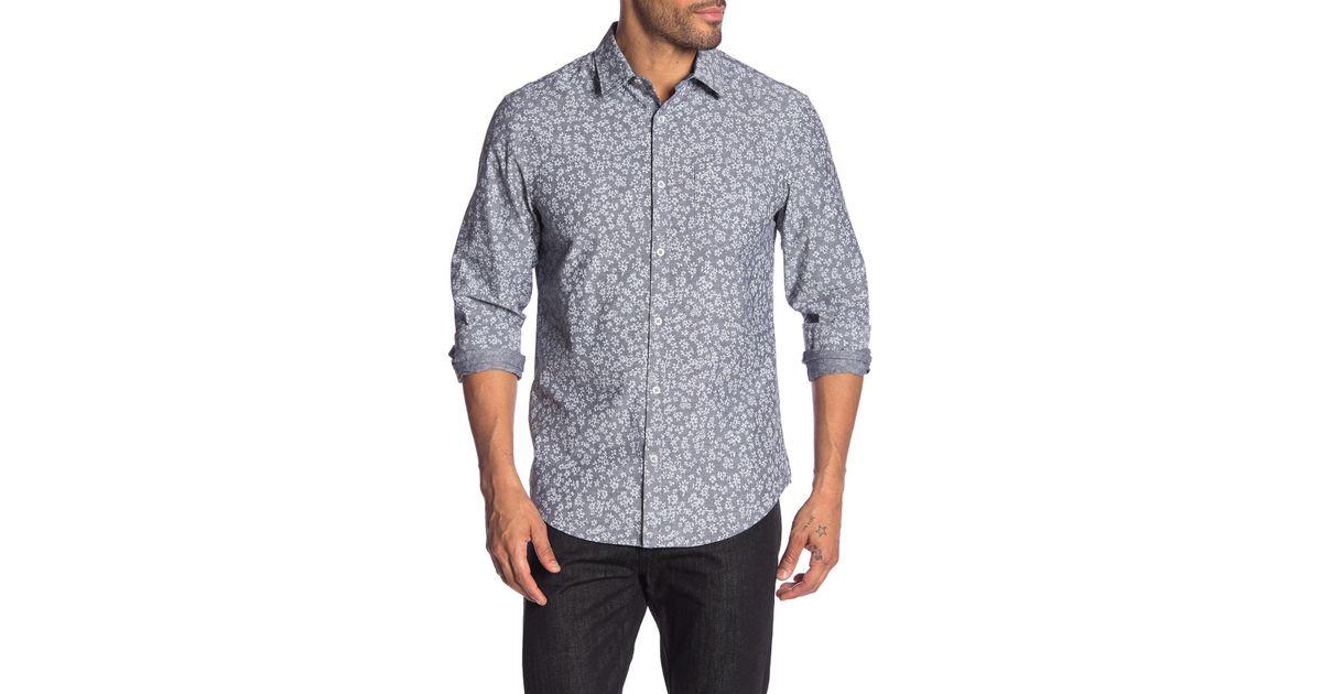 9a9a1a21 Lyst - Original Penguin Floral Long Sleeve Heritage Slim Fit Shirt for Men