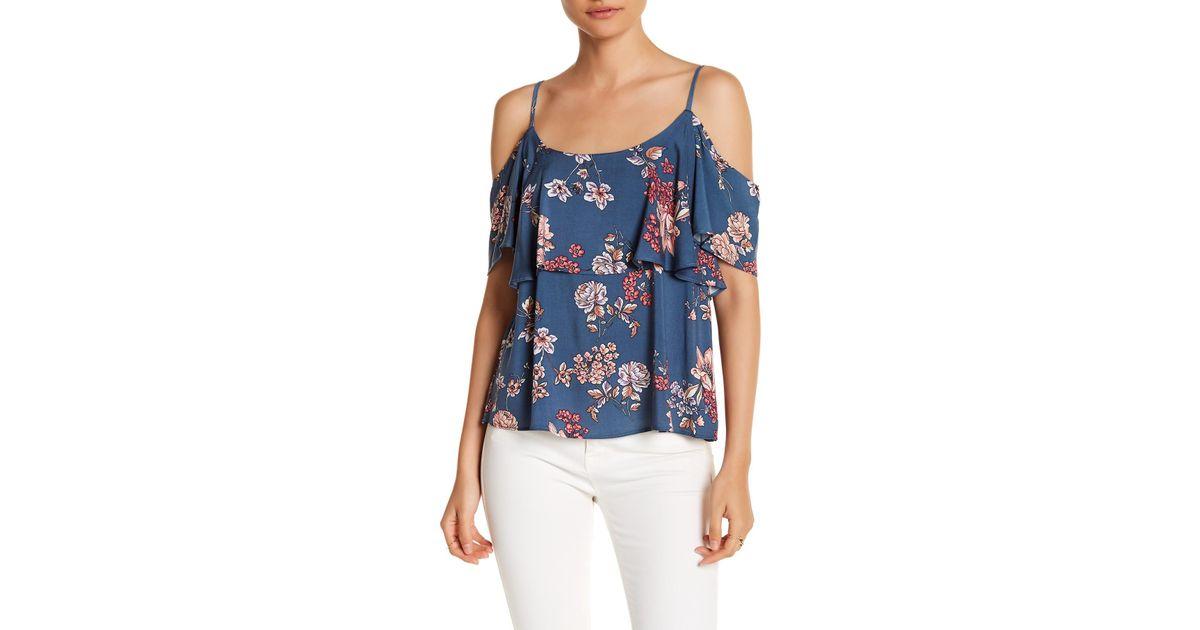 2d3fddb85bf08 Lyst - Bobeau Floral Cold-shoulder Blouse in Blue