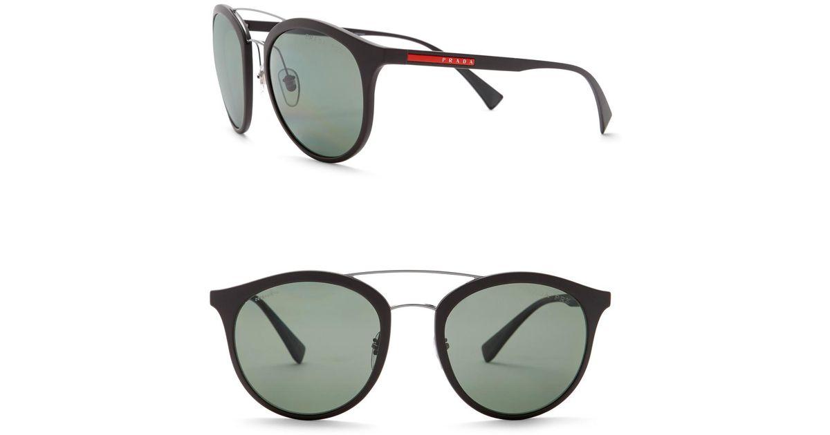 50900060714d ... discount lyst prada rectangle 54mm sunglasses in gray 3d772 5864b