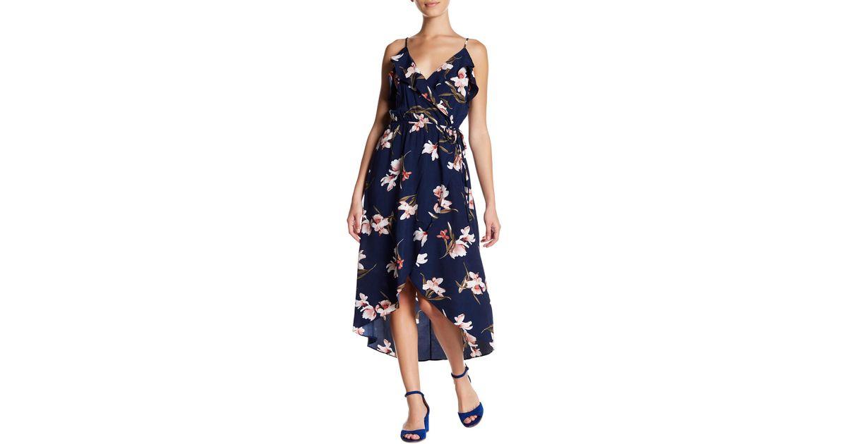 d7ddd308748f Soprano Ruffle Wrap Floral Midi Dress in Blue - Lyst