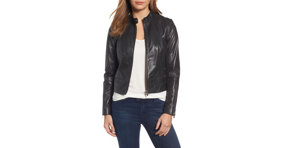 fashionable patterns shop for best lowest discount Halogen Black (r) Zip Detail Leather Moto Jacket (regular & Petite)
