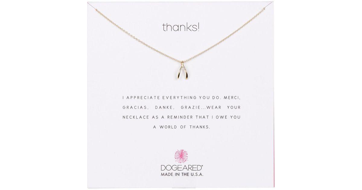 ffbc8c18a78dd Dogeared - Metallic 14k Yellow Gold Vermeil Thanks! Wishbone Pendant  Necklace - Lyst