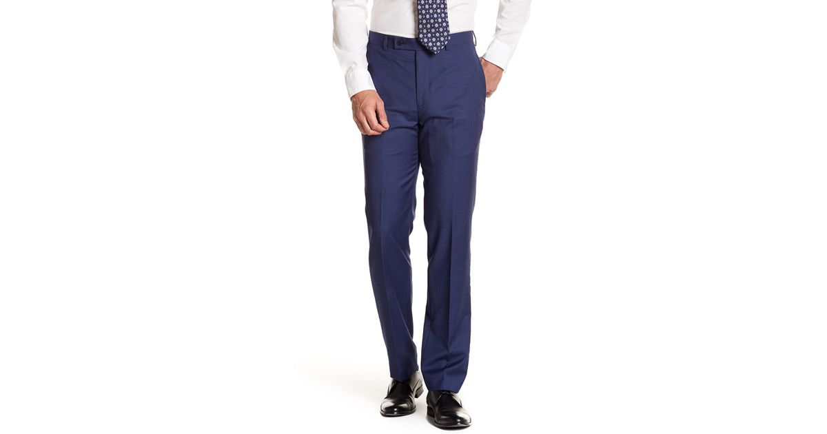 Solid Bright Blue Wool Suit Pants - 30-34