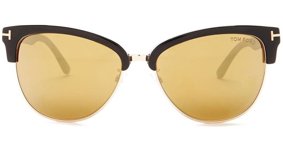 44d2343f46ad6 Tom Ford Women s Fany Clubmaster Sunglasses - Lyst