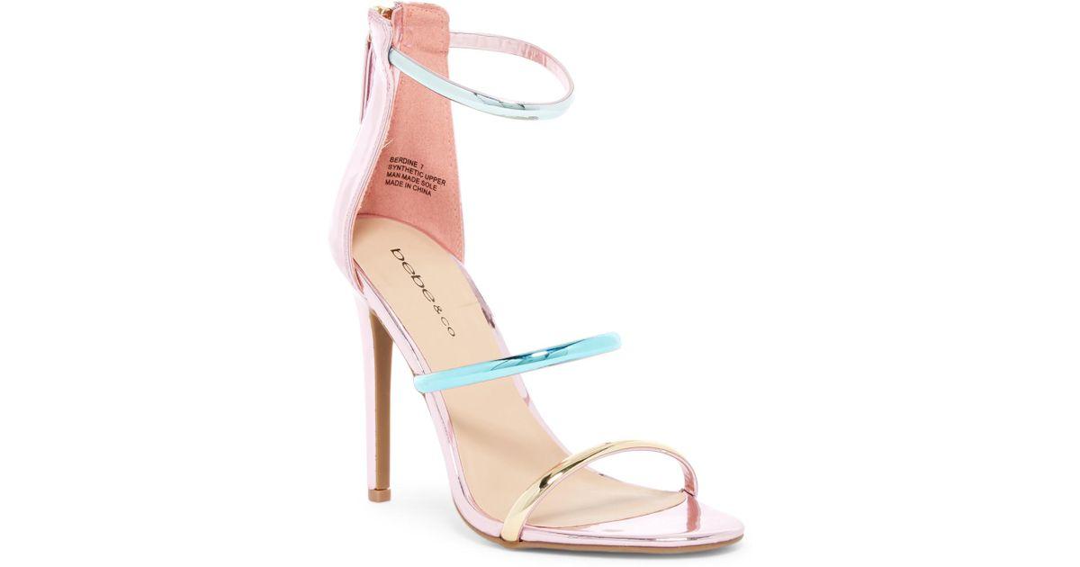 87aee1ff1f7 Lyst - Bebe Berdine Strappy Stiletto Sandal in Pink