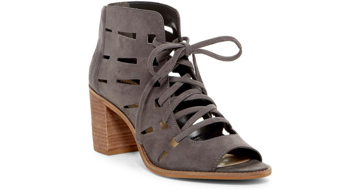 4f562255b9a5 Lyst - Vince Camuto Tressa Perforated Lace-up Sandal in Gray