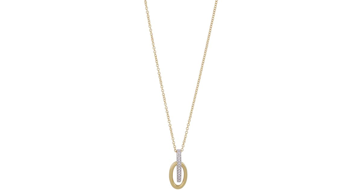 8ef36f6531c7 Lyst - Bony Levy 18k White Gold   18k Yellow Gold Pave Diamond Bar   Oval Pendant  Necklace - 0.03 Ctw in Metallic