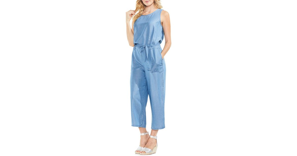 c37f5ac25c56 Vince Camuto - Blue Sleeveless Stripe Belted Jumpsuit - Lyst