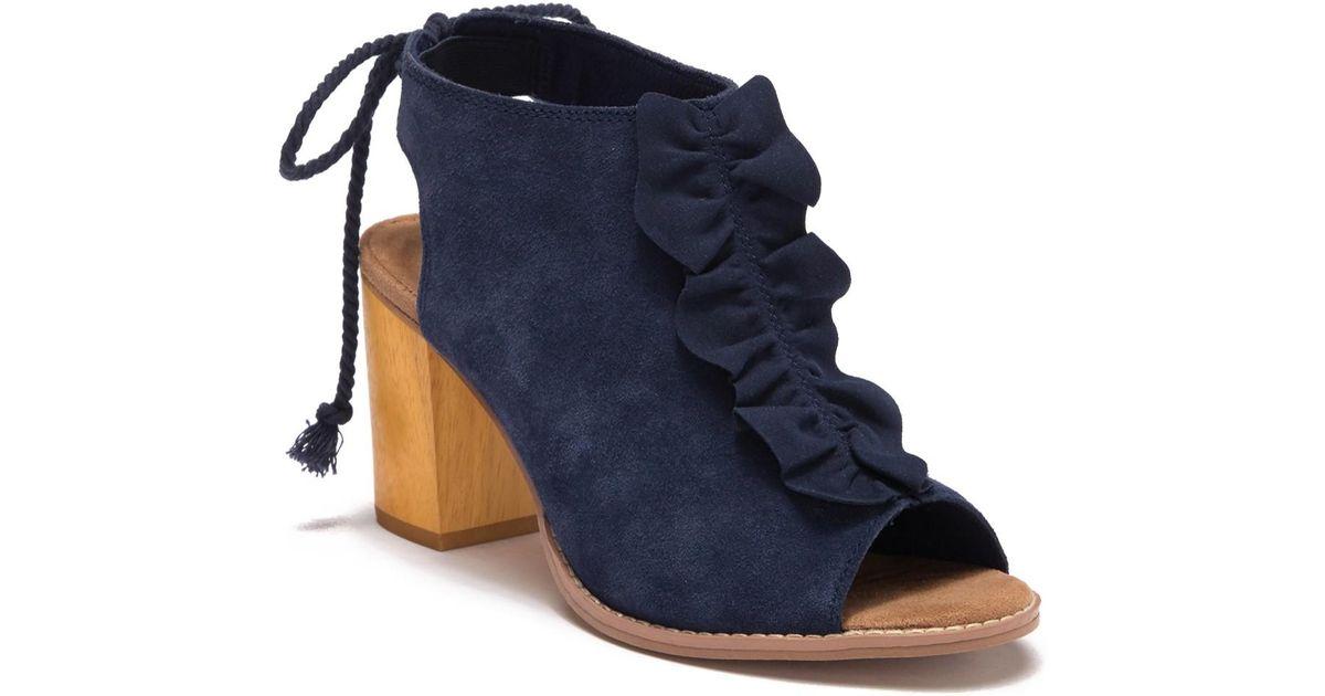 57fa34e19af Lyst - TOMS Elba Peep Toe Block Heel Bootie in Blue