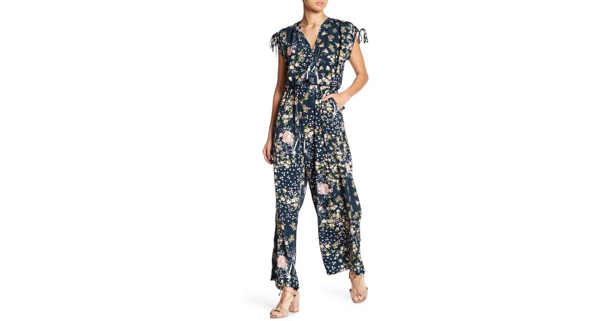 99a6ee46594d Band Of Gypsies - Blue Moody Short-sleeve Floral Jumpsuit - Lyst