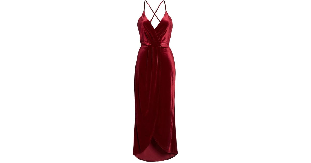 8814222ec2ec Lyst - Fraiche By J High Low Velvet Slip Dress in Red