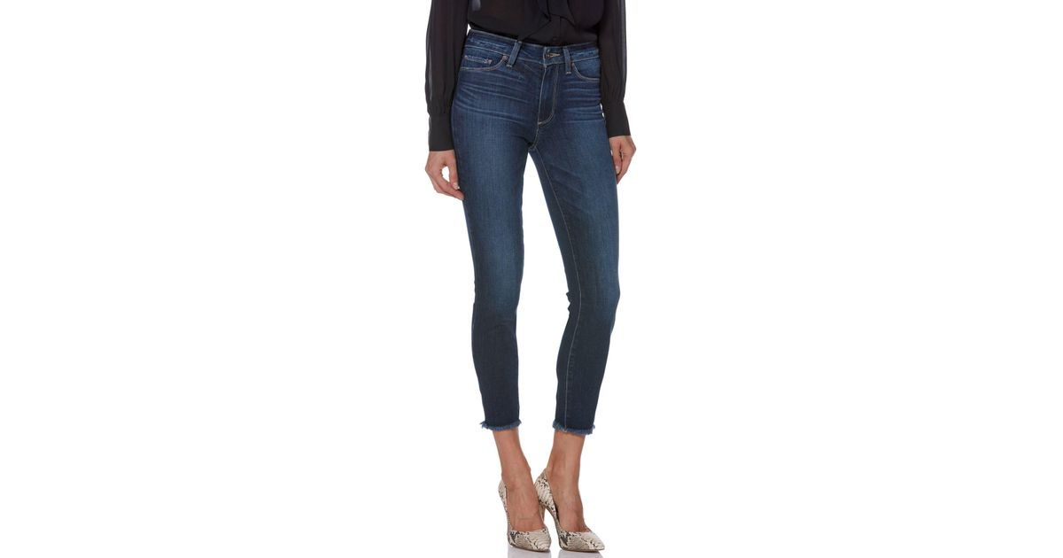 b95043281a558 Lyst - PAIGE Transcend Vintage - Hoxton High Waist Frayed Crop Skinny Jeans  (tarin) in Blue