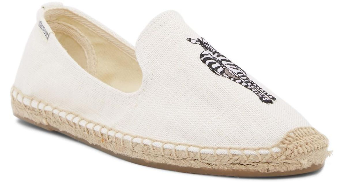 129165a0a386 Lyst - Soludos Zebra Embroidered Smoking Slipper in White