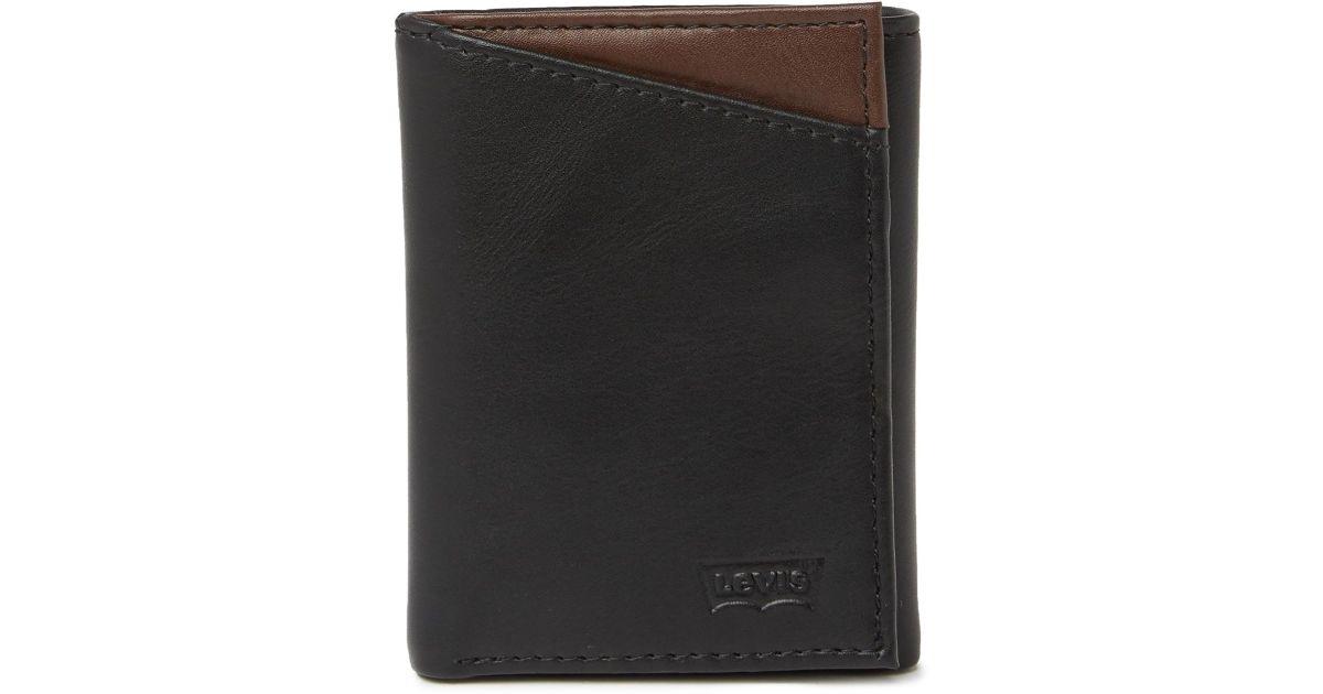af378292e Levi's Connor Leather Tri-fold Wallet in Black for Men - Lyst