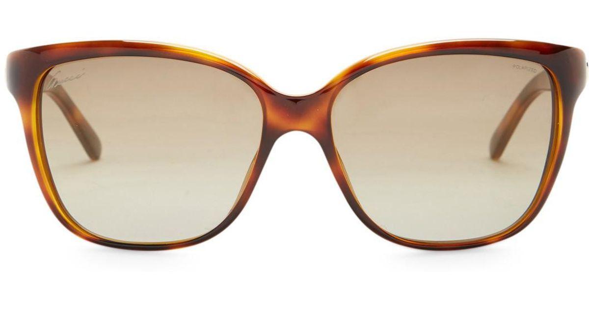 53c8b75e660 Lyst - Gucci Women s Retro Square Acetate Frame Sunglasses in Brown