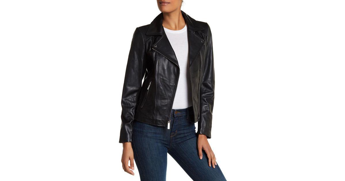 e86a769cd314 Lyst - MICHAEL Michael Kors Asymmetric Zip Moto Leather Jacket in Black