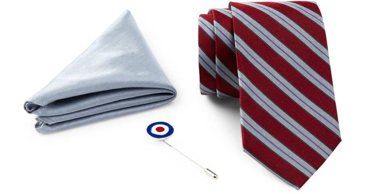 ab9479987138 Lyst - Ben Sherman Silk Stripe Tie, Solid Pocket Square, & Lapel Pin Box  Set in Red for Men
