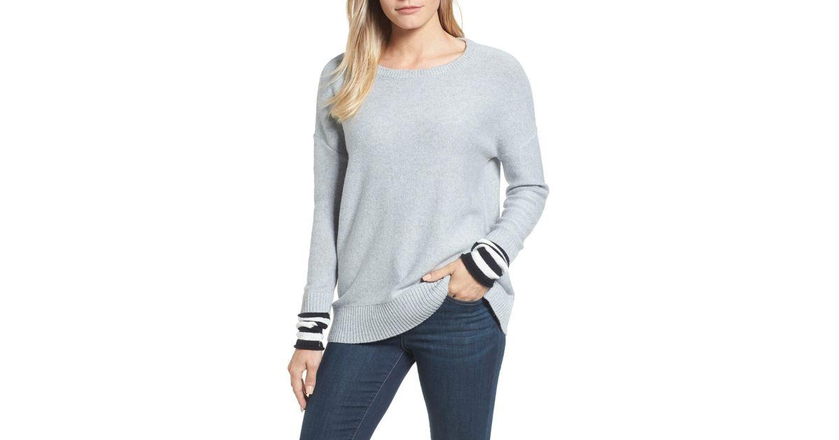 Lyst - Caslon (r) Contrast Cuff Crewneck Sweater (regular   Petite) in Gray 06d8ef2a3