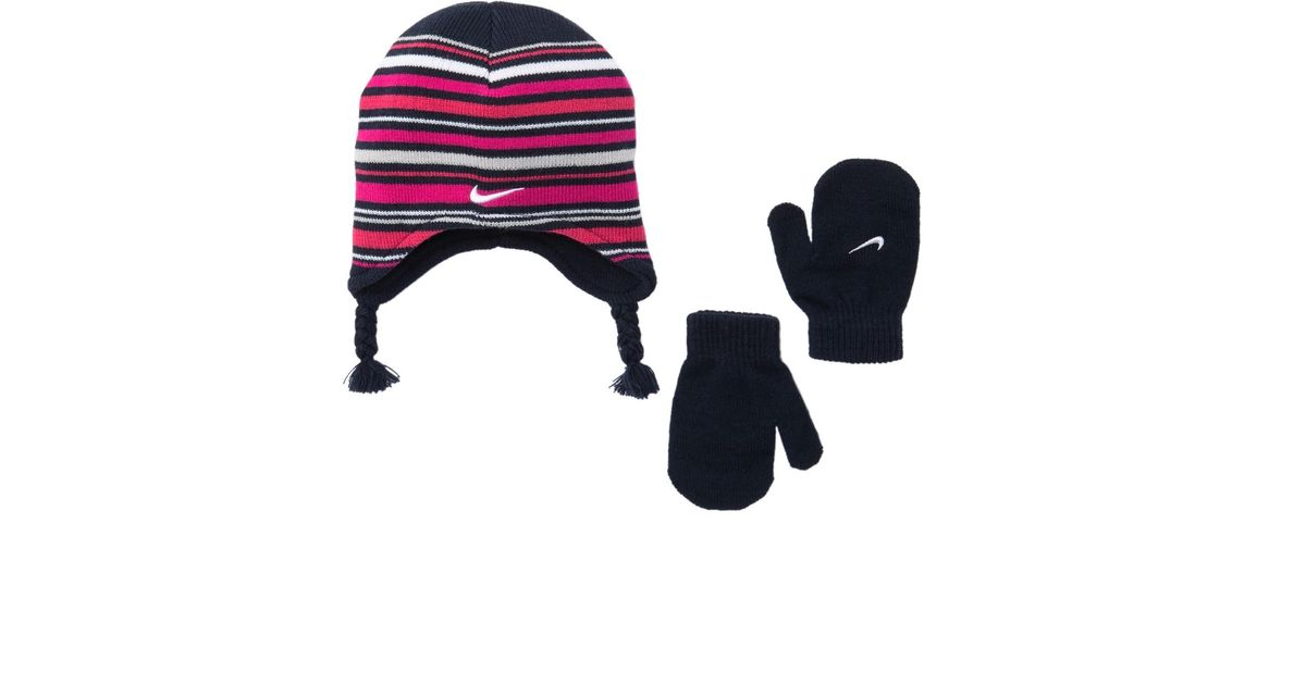 d4d3a9d0f1a46 Lyst - Nike Striped Beanie   Mittens Set in Blue
