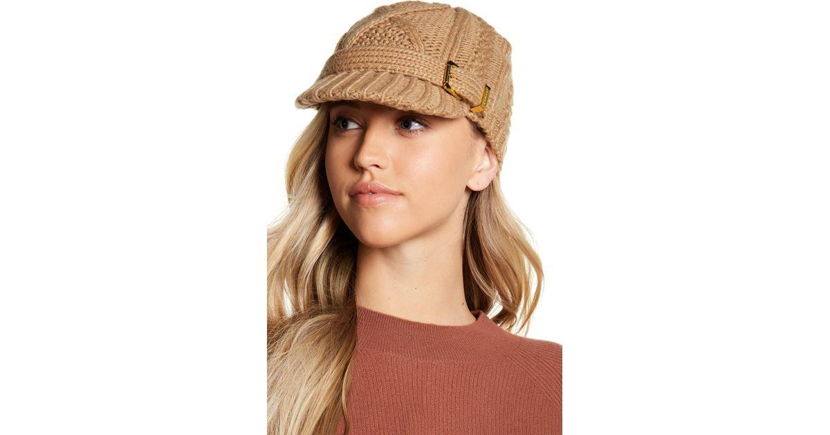 Lyst - MICHAEL Michael Kors Classic Cable Knit News Boy Hat in Natural f9e2e993e01