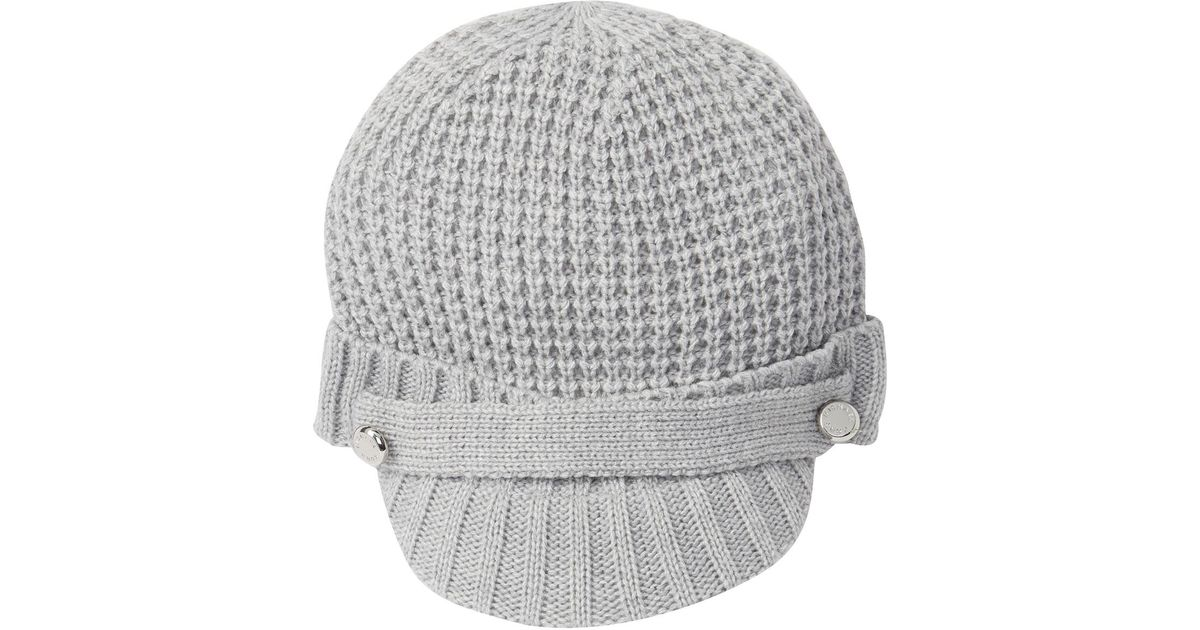 Lyst - Michael Kors Thermal Peak Knit Visor Beanie in Gray e0f2f10fd1c